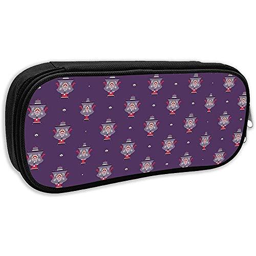 Pen Bag Pouch Russische Teekanne Symbol Nahtloses Muster Bleistiftetui Stationäres Etui Make-Up Kosmetiktasche