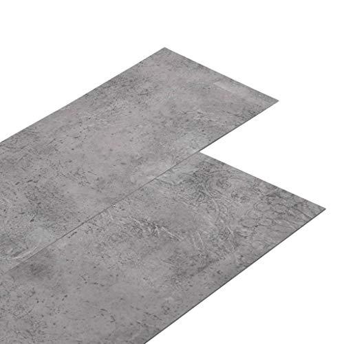 vidaXL PVC Laminat Dielen Vinylboden Vinyl Boden Planken Bodenbelag Fußboden Designboden Dielenboden 4,46m² 3mm Selbstklebend Zementbraun