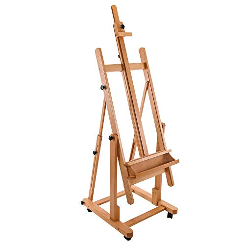 U.S. Art Supply Malibu Heavy Duty Extra Large Adjustable H-Frame Studio Easel with Artist Storage Tray - Tilts Flat, Sturdy Wooden Beech Wood Painting Canvas Holder Stand - Locking Caster Wheels