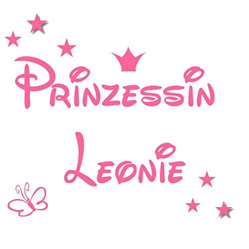 Wandtattoo AA461 Türschild Kinderzimmer Prinzessin/Prinz - Namen- Krone-Sterne-Schmetterling (Rosa 30cm x 12cm)