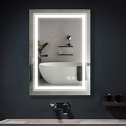 """FRALIMK Bathroom Mirror 20"""" x 28"""" Wall Mounted Vanity Mirror Dimmable Led Makeup Mirror with High Lumen Anti-Fog Bathroom Vanity Mirror, Horizontally/Vertically Hanging"""