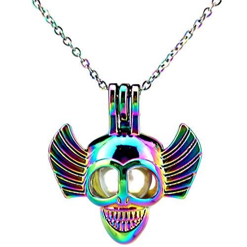 guodong Halloween Skull Wing Necklace Pendant Aroma Essential Oil Diffuser Fun Gift