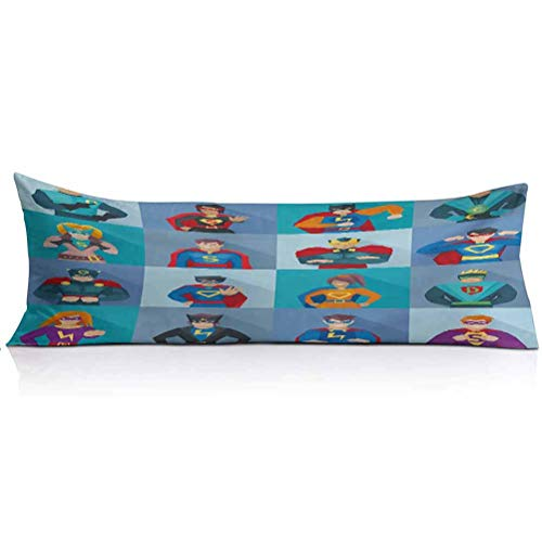 Superhero Body Pillowcase,Characters with Supernatural Powers in Special Costumes Comic Strip Humor Print Super Soft and Luxury Body Pillow Cover for Adults Pregnant Woman,1PCS,Multicolor