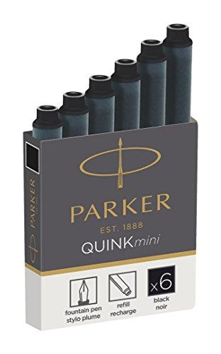 Parker Quink recambios para plumas estilográficas, cartuchos cortos, tinta negra, paquete de 6