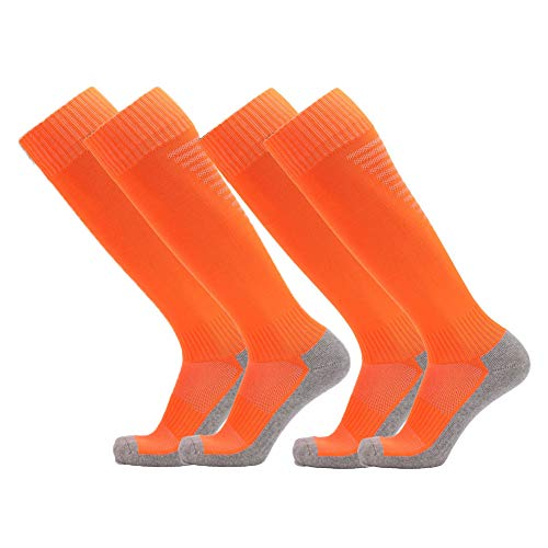 Fitliva Orange Soccer Baseball Socks for Girls Boys(2 Pairs)