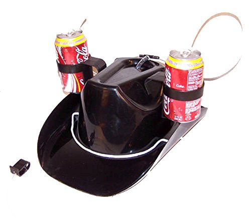 Funny Novelty Western Black Cowboy Drinking Hat with Two Holders
