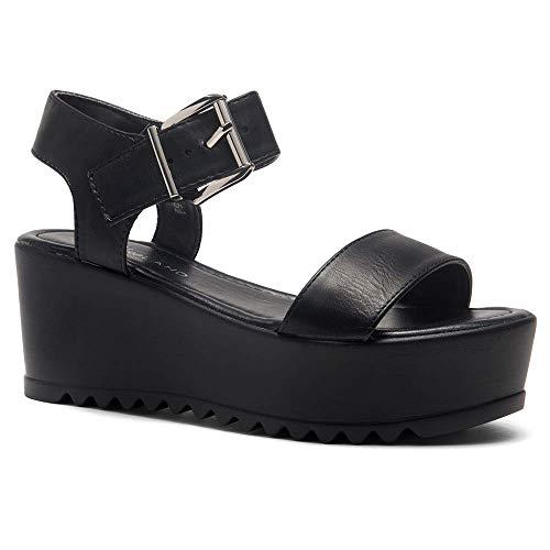 Herstyle Carita Women's Open Toe Ankle Strap Platform Wedge Sandal Black 7.0 Black Open Toe Ankle Strap