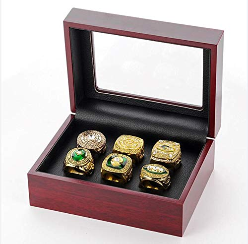 ZXY GF-Sports Store Set di 6 Green bay Packers Campionato Anello di Replica da Display Box Set-Moda Splendidi Gioielli da Collezione
