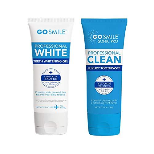 Go Smile Teeth Whitening Gel (3.4oz) & Go Smile Luxury Toothpaste, Mint (3.4oz)