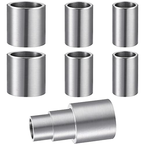 6 Pieces 1 Inch Thick Reducing Bushing Adapters Steel Reducer Bushing for Bench Grinding Sanding Wheels Id 1/2 Inch Od 5/8 Inch, Id 5/8 Inch Od 3/4 Inch, Id 3/4 Inch Od 1 Inch (3 Sizes)