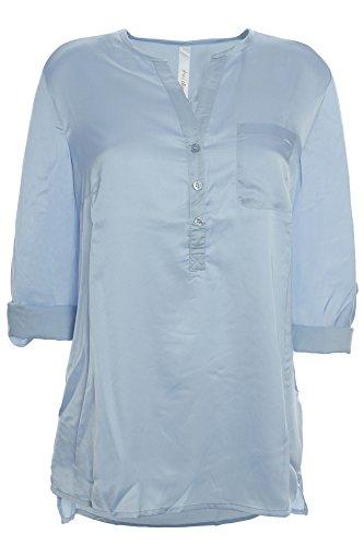 sheego Tunika Shirt Bluse Damen Langarm Lagenlook Plusgröße, Farbe:hellblau;Damengrößen:48
