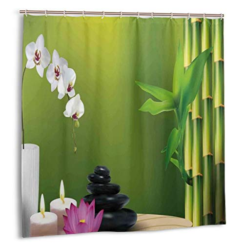 cortinas de baño con dibujos de bambú y orquideas amazon