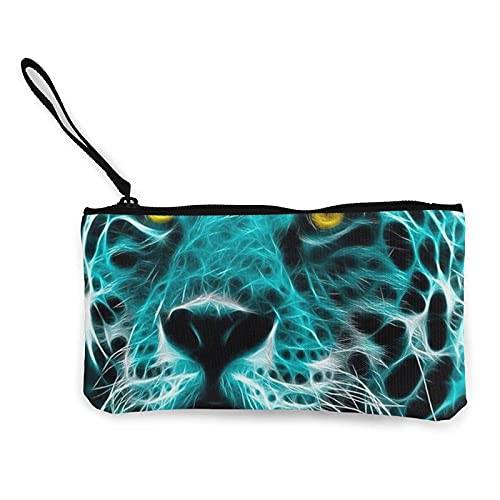 Portamonete in tela stampata Portafoglio con cerniera Portamonete piccolo Portamonete Boho per carte, monete (Cool Turquoise Cheetah Leopard)