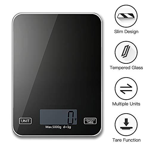 Inroserm 11 lb/5 kg Bilancia Cucina Digitale con LCD Display, Funzione Tare, Bilancia Alimenti Elettronica Nero