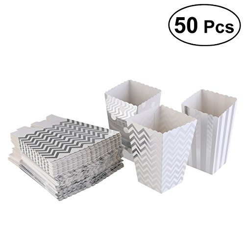 OUNONA Popcorn-Boxen Papier Popcorn-Schachteln gepunktet gestreift S¨¹?igkeiten-Boxen Silber 50?St¨¹ck