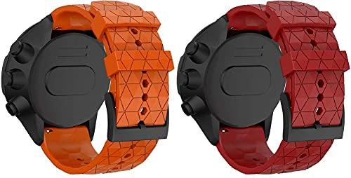 Classicase Compatible con Suunto 9 / Suunto 9 Baro Correa de Reloj, Banda de Reemplazo Silicona Suave Sports Pulsera (Pattern 2+Pattern 4)