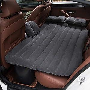 Vinteky®Un Set Completo Colchón Impermeable e hinchable para Coche convertible en Sofá inflable, Camping Asiento inflable en el coche, Colchón de Inflación para Viaje,Inflatable Mattress(Negro)