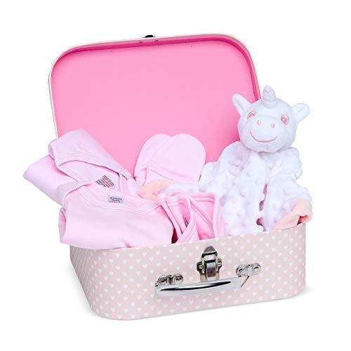 Baby Geschenk Mädchen mit Baby Erstausstattung, Baby Set einschließlich Bettdecke, Body, Schlafanzug, Lätzchen aus Baumwolle und Fäustlinge