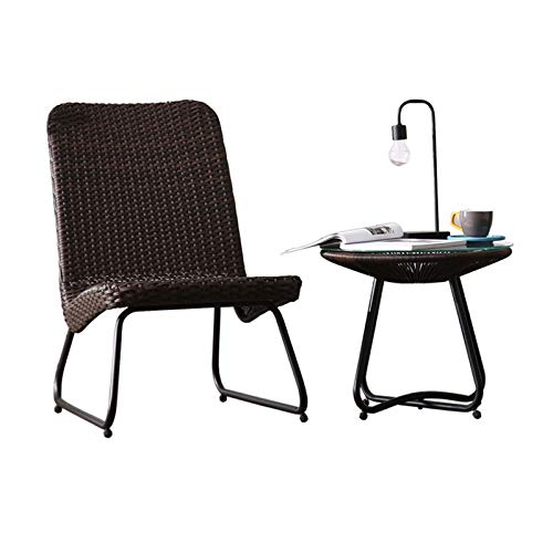 Wicker Patio Furniture Set With Side Table And Outdoor Chairs, Outdoor Leisure Creative Coffee Table Garden Courtyardtable And Chair Combination (Size : 1x coffee table+1x wicker chair)