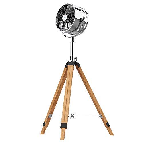 Cecotec Ventilador trípode ForceSilence 1200 Woody. Trípode Madera, 3 aspas, 12 Pulgadas, 30 cm diámetro, 3 velocidades, 80 W, Altura e inclinación Regulable