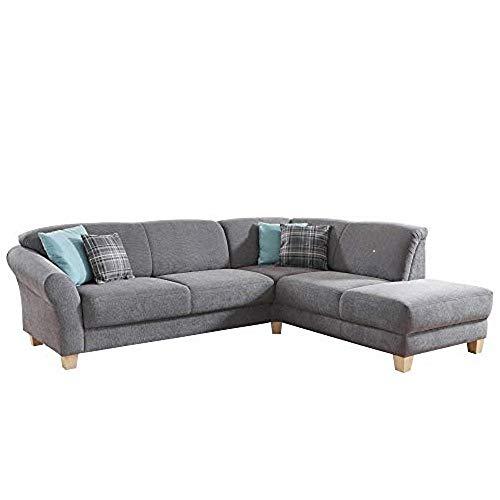 CAVADORE Ecksofa Gootlaand mit Ottomane rechts / Große Couch im Landhausstil / Mit Federkern / 257 x 84 x 212 / Grau