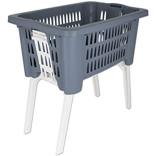 Wäschekorb mit klappbaren Beinen Lochmuster mit Farbwahl 38L Wäschewanne Wäschekiste Wäschetruhe Wäsche Korb Wanne Wäschesammler (blau)