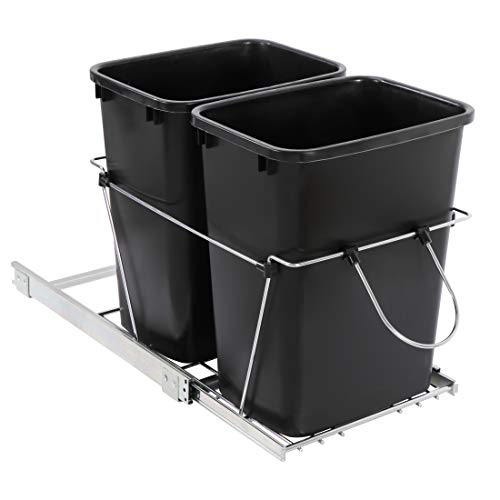 SUPER DEAL Double Pullout Trash Can 35 Quart Under Counter Dual Compartment Recycling Bin Sliding Waste Bin Kitchen Container