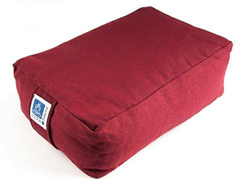 Yoga Kissen Meditationskissen Quader 30 x 20 x 10 cm, Bezug aus Baumwolle bordeaux rot abnehmbar, gefüllt mit Buchweizenspelz, Sitzkissen Bolster Yogakissen