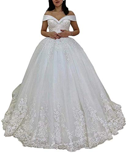 Womens Off The Shoulder Wedding Dresses Ball Gown Lace Beaded Wedding Dresses for Bride White