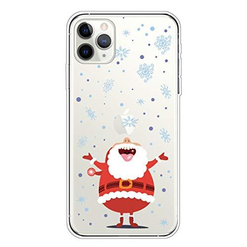 DiaryTown Regalo di Natale Cover per iPhone 11 PRO(5.8' Silicone Trasparente Morbida, Custodia iPhone 11 PRO Bella Disegni Case Antiurto Protettivo TPU Sottile Accessori Telefoni, Babbo Natale A