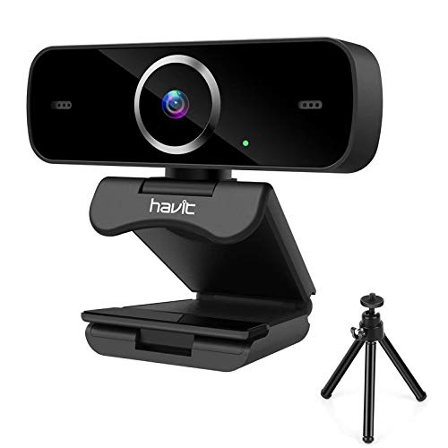havit Webcam 1080P Cámara Web Full HD USB 2.0 con Micrófono de reducción de Ruido Incorporado, Giratorio de 360 Grado,cámara Web portátil con Soporte, para Ordenador/PC,Negro