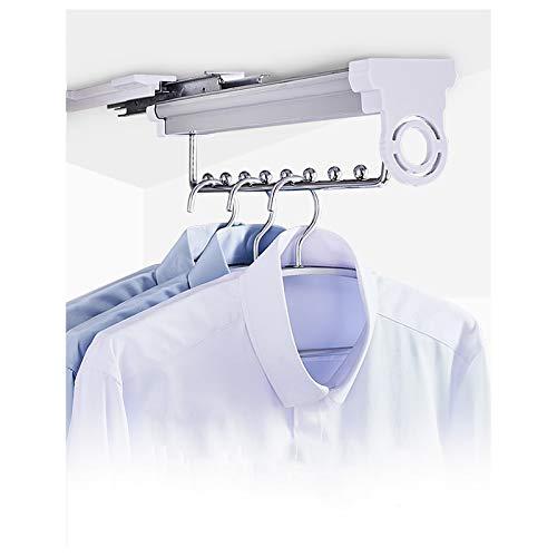 Perchero para armario, organizador telescópico para colgar ropa, para ahorrar espacio, barra de acero macizo, fácil de montar (color: blanco plateado, tamaño: 45,6 cm)