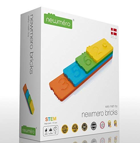 newméro Bricks - Stem Toys | Math Learning Toys for Boys and Girls of 3 4 5 6 7 8 9 Year Old - (57 Pieces)