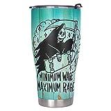 YshChemiy Vaso de terror de Halloween con tapa de salario mínimo, con aislamiento al vacío, divertido vaso para escalar bebidas calientes o frías, 900 ml