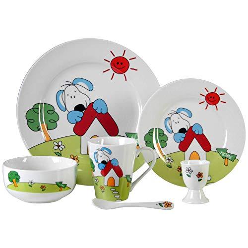 DONREGALOWEB Vajilla Infantil 6 Piezas de cerámica, compuesta por Platos, reposahuevos, Cuchara, Cuenco y Taza con Caja de Regalo