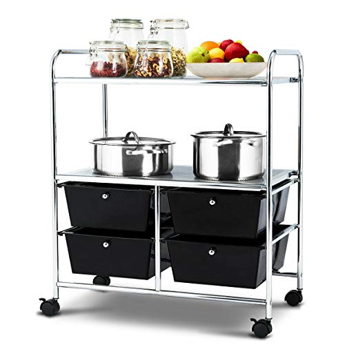 Giantex Rolling Storage Cart w/ 4 Drawers 2 Shelves Metal Rack Shelf Home Office School Beauty Salon Utility Organizer Cart with Wheels (Black)