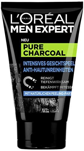 L 'Oréal Men Expert Pure Charcoal kooltjes, gezichtspeeling tegen onzuivere, vettige en vettige mannenhuid en mee-eters, poriënreiniger voor een heldere huid (1 x 100 ml)