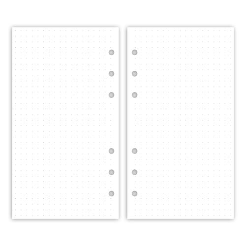 Purepaper 2002P Inserts for Organizer and Ring Planner with 6 Holes, 95x171mm Personal, 50 Sheets Dotgrit, Pure White