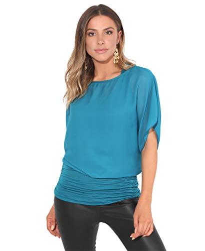 Blusas Camisas Mujer Elegante Grande Top Bonita Fiesta Transparente Juvenil Tallas Grandes Fiesta Moda, (Verde Azulado (3559), 38 EU (10 UK)), 3559-TEA-10