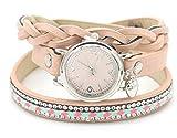 Dielay Damen Wickelarmband mit Uhr Quarzwerk PU-Kunstlederband mit Kristalle (Rosa)