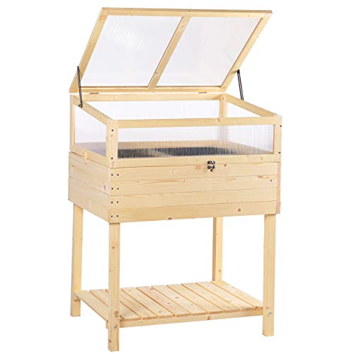 Mupater Raised Garden Bed Planter Box with Cold Frame Greenhouse for Herbs and Vegetables, Garden Box Elevated for Outdoor Indoor, Natural Wood