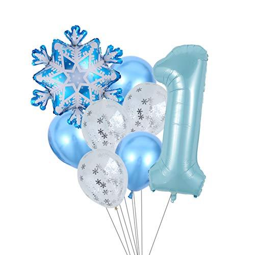 XUZHUO 1 Satz gemischte Schneeflockenballons 40 Zoll eisblaue Digitale Ballonparty Geburtstagsfeierdekoration