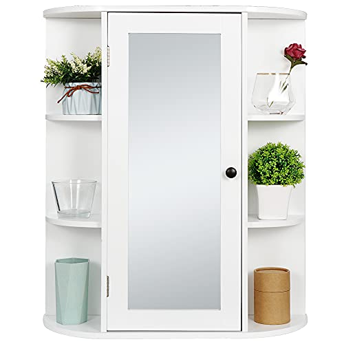 ZenStyle Bathroom Mirror Cabinet Wall Mounted, Single Door White Bathroom Wall Cabinet Medicine Cabinet with Mirror and Adjustable Inner Shelves for Bathroom, Living Room