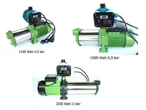 chm !!Profi!! Verschiedene INOX Kreiselpumpen zur Auswahl zwischen 1100 Watt - 2200 Watt mit extremer Laufruhe hohem Druck und großer Fördermenge + Steuerung und Trockenlaufschutz. (1500 Watt)