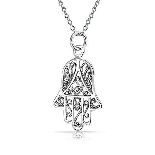 Hamsa Hand Der Fatima Gottes Schutz Filigrane Swirl Anhänger Mit Halskette Für Damen 925 Sterling Silber Mit Kette