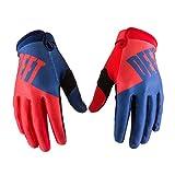 WanKerl Deft 01 New Motorcycle Mountain Bike Cycling Racing Soort Full Finger Moto GP SP Gloves for Men Women (Blue-Red, M)