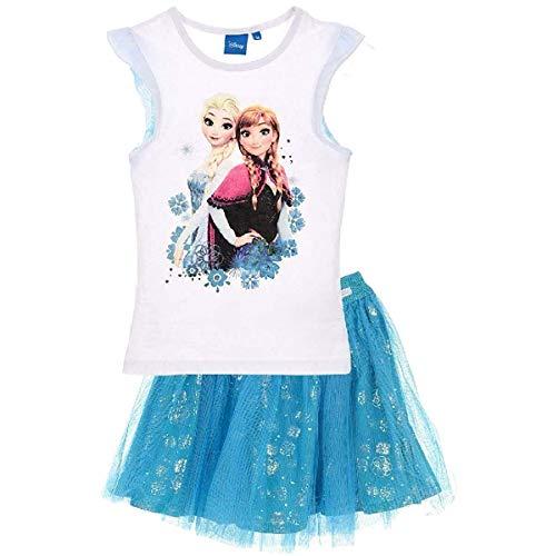 Frozen - Die Eiskönigin T-Shirt und Rock Kollektion 2018 Set 98 104 110 116 122 128 Mädchen Kurzarmshirt ELSA Disney (Weiß-Blau, 104-110)