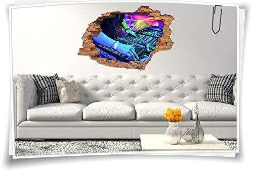 Medianlux 3D Wand-Bild Wand-Tattoo Wand-Aufkleber DJ Musik Mischpult Party Event Disko, 90x60cm