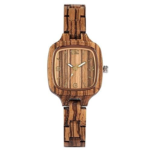 KUELXV Reloj de Pulsera de Madera Reloj de Madera Cuadrado Simple Minimalista para Mujer, Reloj Delgado, Ultra analógico, Brazalete de Madera de bambú Completo, Relojes para Mujer, Madera de Cebra