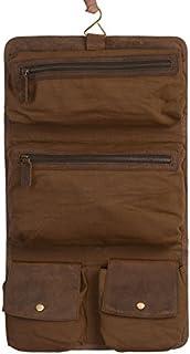 KOMALC Genuine Buffalo Leather Hanging Toiletry Bag Travel Dopp Kit … (Distressed Tan)